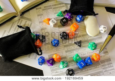 Role Playing Game with dices and character sheet
