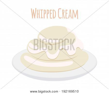 Whipped cream, milk product. Dairy food, sweet yogurt on dish. Made in cartoon flat style