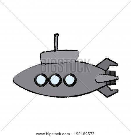 submarine with periscope bathyscaphe cartoon vector illustration