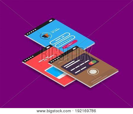 isometric mobile app ui design concept, semi flat 3d style