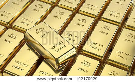 3D illustration closeup shiny group gold bars macro zoom