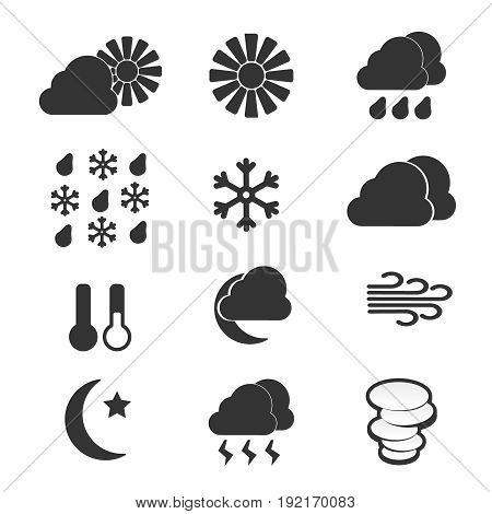 Set of weather icons and weather icons vector illustration. Snowflake cloud set weather icons and sun temperature weather icons.