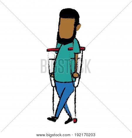 cartoon man disability walking on crutches vector illustration