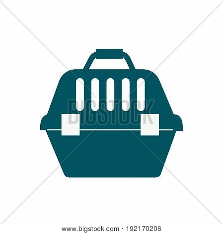 Pet travel plastic carrier isolated on white kitten or dog travel safety container. Vector small plastic security transport crate trip pet carrying. Looking transportation puppy domestic care.
