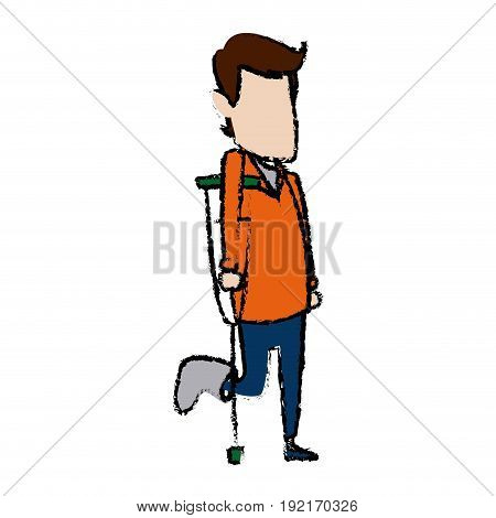 cartoon man foot with medical plaster disability walking on crutches