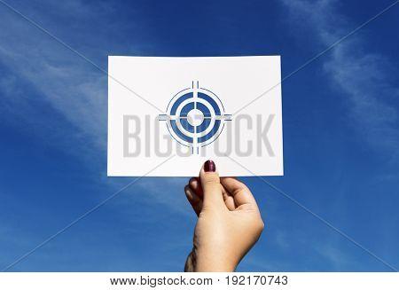 Goals target aspiration perforated paper bullseye