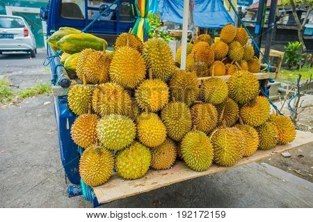 Durian fruits street market stall, Sumatra, Indonesia. Durian regarded by many people in southeast Asia as the king of fruits .