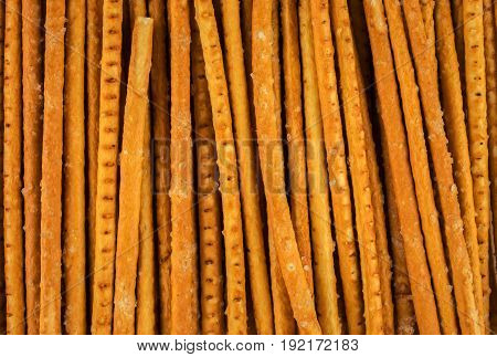 Bread straws. Bread sticks close-up. Food baking.