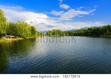 View over the big beautiful lake for rest and fishing Ukraine