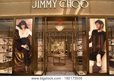 KING OF PRUSSIA, PA - MAY 6: Jimmy Choo store at King of Prussia Mall in Pennsylvania, as seen on May 6, 2017. It is the largest shopping mall in the United States of America in terms of leasable retail space.