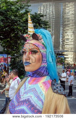 Drag Queen In Gay Pride Parade Sao Paulo 21St
