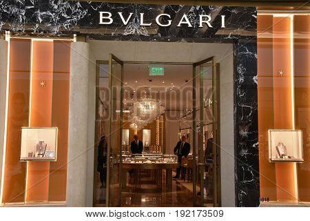 KING OF PRUSSIA, PA - MAY 6: Bvlgari store at King of Prussia Mall in Pennsylvania, as seen on May 6, 2017. It is the largest shopping mall in the United States of America in terms of leasable retail space.