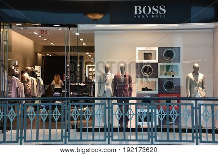 KING OF PRUSSIA, PA - MAY 6: Hugo Boss store at King of Prussia Mall in Pennsylvania, as seen on May 6, 2017. It is the largest shopping mall in the United States of America in terms of leasable retail space.