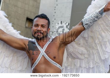Young Man With Wings At Gay Pride Parade Sao Paulo