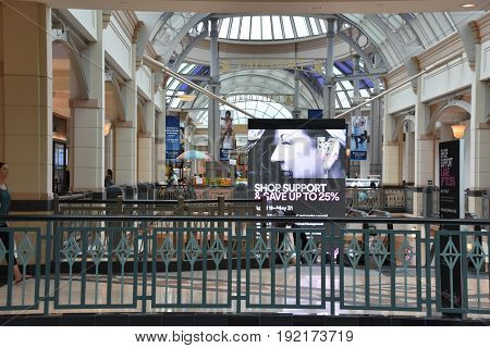 KING OF PRUSSIA, PA - MAY 6: King of Prussia Mall in Pennsylvania, as seen on May 6, 2017. It is the largest shopping mall in the United States of America in terms of leasable retail space.