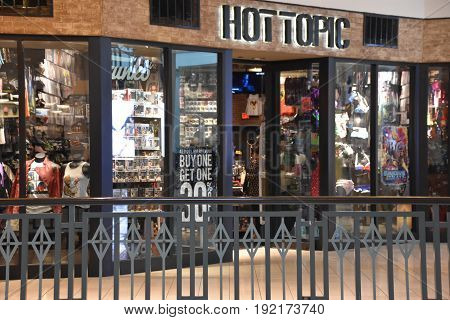 KING OF PRUSSIA, PA - MAY 6: Hot Topic store at King of Prussia Mall in Pennsylvania, as seen on May 6, 2017. It is the largest shopping mall in the United States of America in terms of leasable retail space.