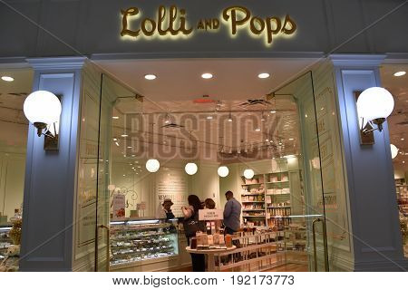 KING OF PRUSSIA, PA - MAY 6: Lolli and Pops store at King of Prussia Mall in Pennsylvania, as seen on May 6, 2017. It is the largest shopping mall in the United States of America in terms of leasable retail space.