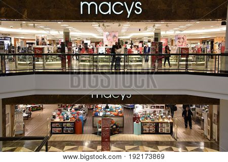KING OF PRUSSIA, PA - MAY 6: Macy's at King of Prussia Mall in Pennsylvania, as seen on May 6, 2017. It is the largest shopping mall in the United States of America in terms of leasable retail space.