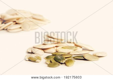 Pumpkin seeds on whote background