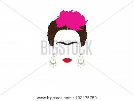 portrait of Mexican or Spanish woman minimalist Frida Kahlo with earrings and flowers , vector isolated
