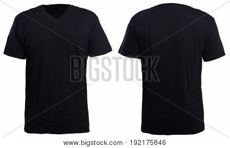 Blank v-neck shirt mock up template front and back view isolated on white plain t-shirt mockup. V Neck tee design presentation for print.