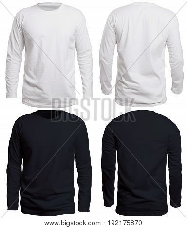 Blank long sleve shirt mock up template front and back view isolated on white plain black and white t-shirt mockup. Long sleeved tee design presentation for print.