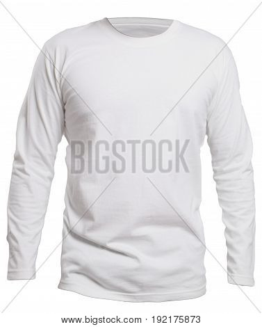 Blank long sleve shirt mock up template front view isolated on white plain white t-shirt mockup. Long sleeved tee design presentation for print.