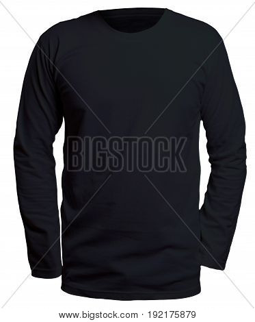 Blank long sleve shirt mock up template front view isolated on white plain black t-shirt mockup. Long sleeved tee design presentation for print.