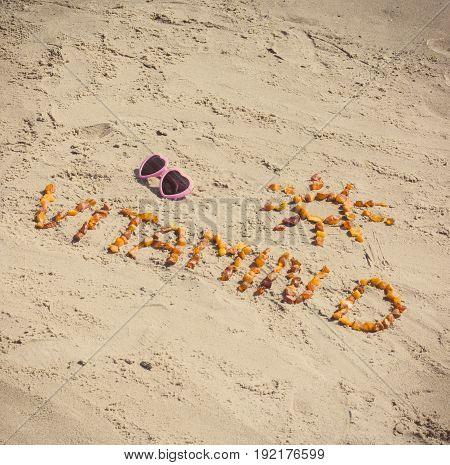 Sunglasses, Inscription Vitamin D And Shape Of Sun At Beach, Prevention Of Vitamin D Deficiency