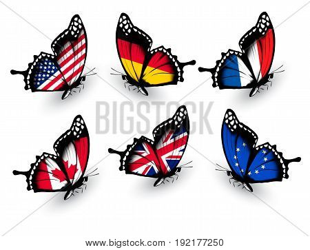 Set of butterflies with different flags. Vector
