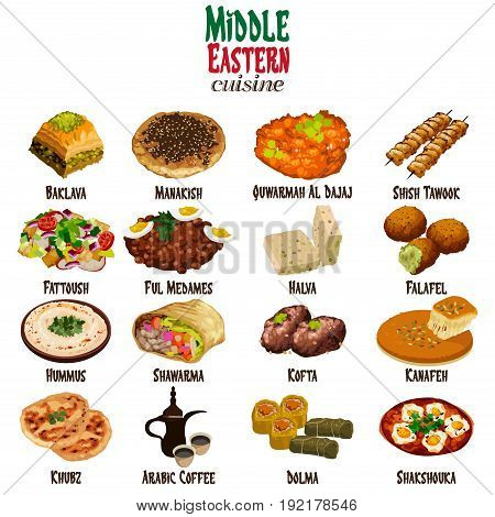 A vector illustration of Middle Eastern Cuisine