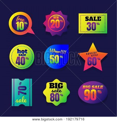 sale button Product promotion glossy circle buttons or badges.. Hot offer super sale shopping night free hot deal best price lettering. Template for your design works. Vector illustration.