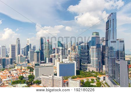 Top views skyline business building and financial district in sunshine day at Singapore City