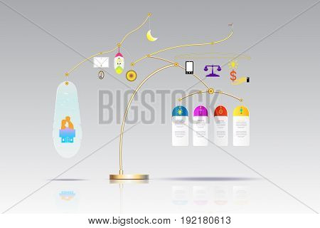 Vector infographic template 3D with hanging and icon Business concept with options. For content diagram flowchart steps parts timeline infographics workflow layout chartVector illustration