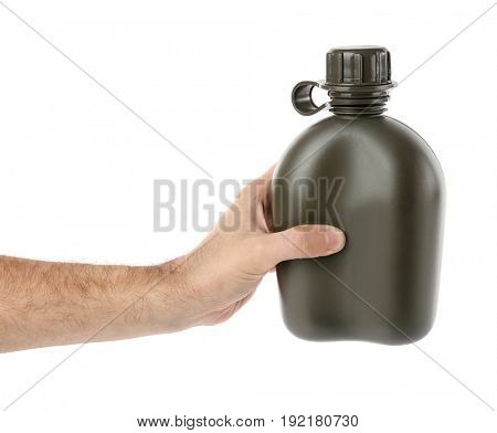 Man holding military canteen on white background