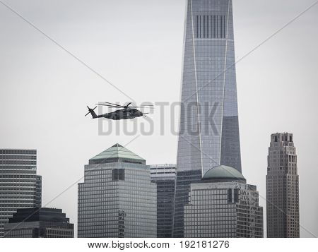 US Navy MH-53E Sea Dragon helicopter flies above Liberty State Park after parachute jump by the U.S. Navy SEALS Parachute Team Leap Frogs during Fleet Week 2017, JERSEY CITY NJ MAY 28 2017