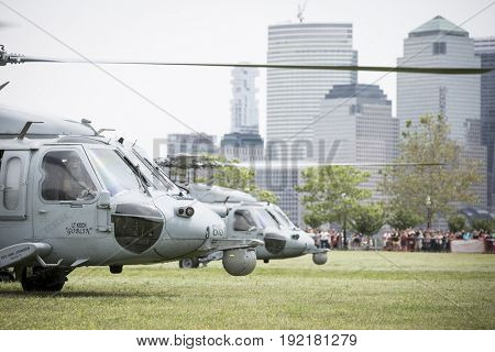 US Navy MH-60S Sea Hawk helicopter lands in Liberty State Park after U.S. Navy EOD team HSC-5 Nightdippers conduct a fast rope demonstration during Fleet Week 2017, JERSEY CITY NJ MAY 28 2017