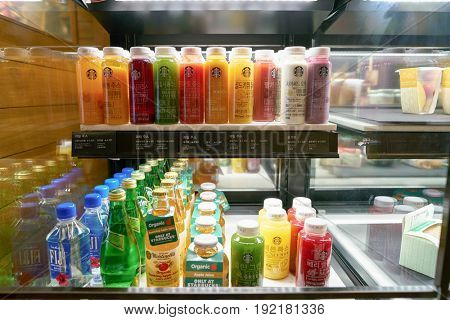 SEOUL, SOUTH KOREA - CIRCA JUNE, 2017: close up shot of ottle beverages at Starbucks in Seoul. Starbucks Corporation is an American coffee company and coffeehouse chain.