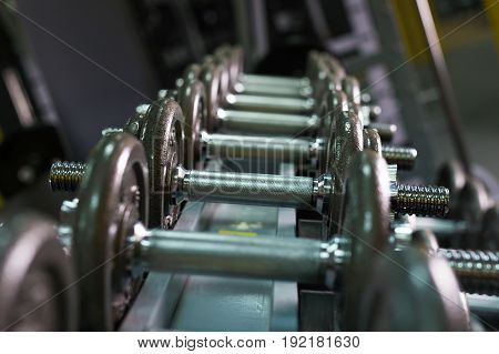 Rows of dumbbells in the gym. Rows of metal dumbbells on rack in the gym , sport club