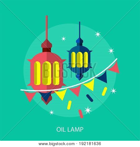 Oil Lamp Conceptual Design | Set of great flat design illustration concepts for religion, ramadan, islamic and much more.