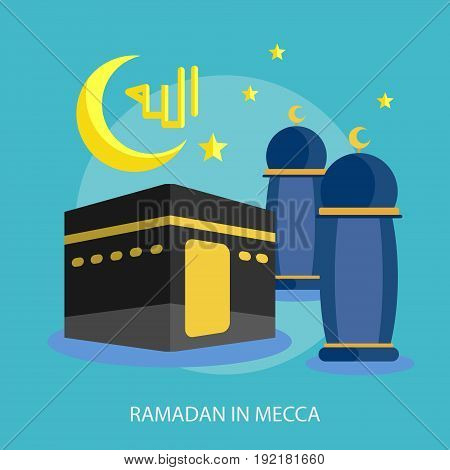 Ramadan In Mecca Conceptual Design | Set of great flat design illustration concepts for religion, ramadan, islamic and much more.