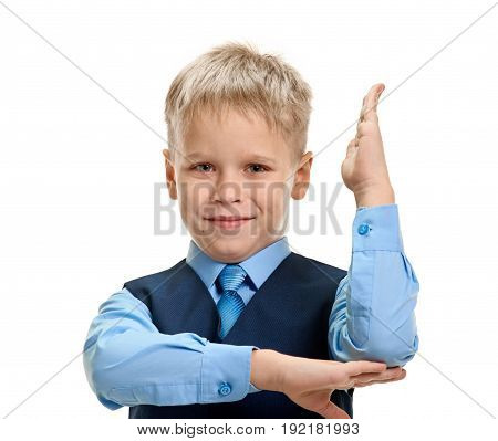 Portrait of smart young boy with raised hand knows the answer