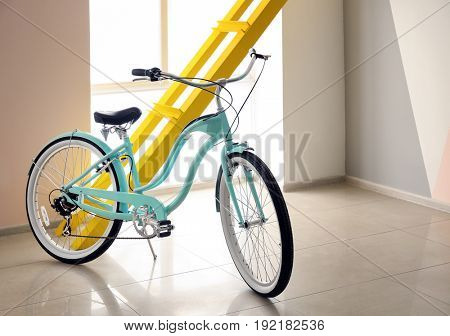 Modern two-wheeled bicycle indoors