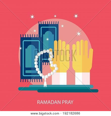 Ramadan Pray Conceptual Design | Set of great flat design illustration concepts for religion, ramadan, islamic and much more.