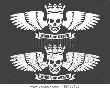 Winged Skull Vector Design Vector illustration of human skull wearing a crown with large spread wings. Includes both clean and distressed, grunge versions.