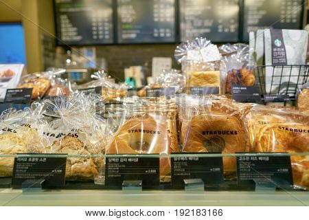 SEOUL, SOUTH KOREA - CIRCA JUNE, 2017: close up shot of pastries at Starbucks in Seoul. Starbucks Corporation is an American coffee company and coffeehouse chain.