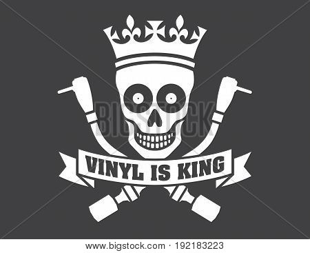 Vinyl record DJ vector logo Vector disc jockey skull and cross bones design featuring turntable tonearms. Vinyl is King.