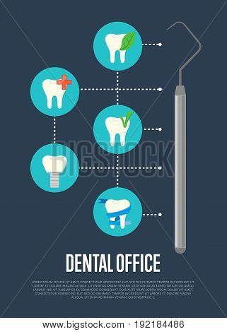 Dental office banner with medical instruments and teeth symbols. Dentistry vector illustration. Dental treatment concept. Tooth care and restoration, stomatology and orthodontics. Oral health care