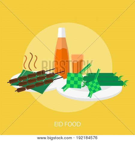 Eid Food Conceptual Design | Set of great flat design illustration concepts for religion, ramadan, islamic and much more.