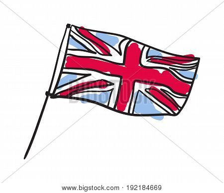 Great Britain flag hand drawn isolated icon. English culture element, patriotic vector illustration.